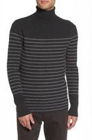 Vince Men's Regular Fit Breton Stripe Cashmere Turtleneck Sweater
