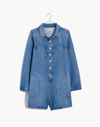 Madewell Denim Long-Sleeve Romper in Burnham Wash