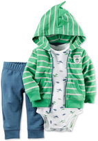 Carter's Baby French Terry Boys' 3-Pc. Striped Hoodie, Dino-Print Bodysuit & Pants Set