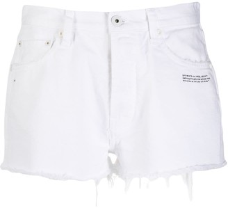 Off-White Frayed Short Denim Shorts