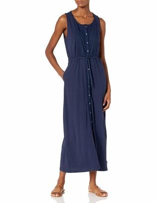 Lucky Brand Women's Sleeveless Scoop Neck Knit Pintuck Midi Dress