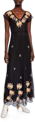 Johnny Was Sarah V-Neck Embroidered Mesh Maxi Dress