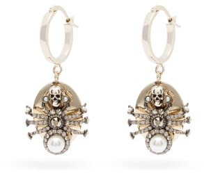 Alexander McQueen Spider Crystal Drop Earrings - Gold