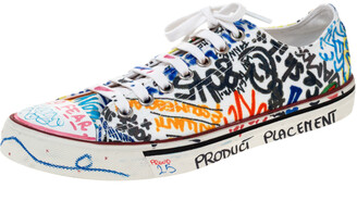Vetements White Graffiti Canvas Low Top Lace Up Sneakers Size 41