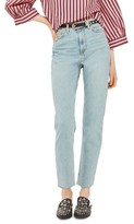 Topshop Women's Vintage Bleach Raw Hem Straight Leg Jeans