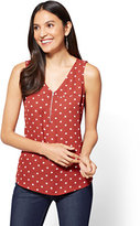 New York & Co. Zip-Front V-Neck Shell - Dot Print