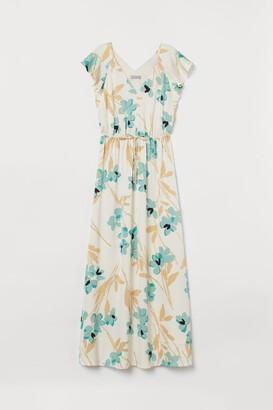 H&M Long Butterfly-sleeved Dress - Beige