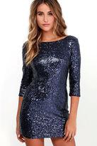 LuLu*s Delightful Ways Navy Blue Sequin Dress