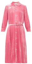 Comme des Garcons Belted Peter-pan Collar Velvet Dress - Womens - Pink