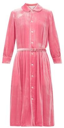Comme des Garcons Belted Peter-pan Collar Velvet Dress - Womens - Pink