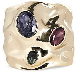 Alexis Bittar Crystal Stone Crumpled Cuff Bracelet