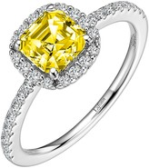 Lafonn Platinum Plated Sterling Silver Simulated Diamond Micro Pave White & Canary Asscher Cut Ring