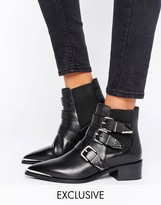 Office Aggy Black Leather Buckle Strap Point Ankle Boots