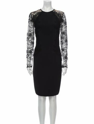 Elie Saab Lace Pattern Knee-Length Dress Black