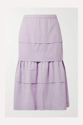 Anna Mason - Mademoiselle Tiered Cotton-chambray Skirt - Lilac