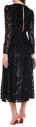 Self-Portrait Ruched Devore-velvet Midi Dress