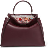 Fendi Peekaboo Medium Embellished Leather Tote - Burgundy