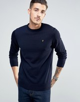 Farah Jumper In Merino Wool Slim Fit In Navy