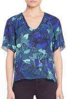 Rebecca Taylor Tahitian Silk Floral-Print Top