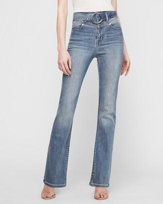 Express Super High Waisted Belted Bootcut Jeans