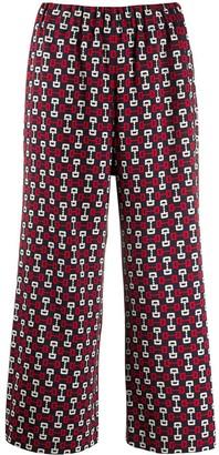 Gucci Horsebit Print Cropped Trousers