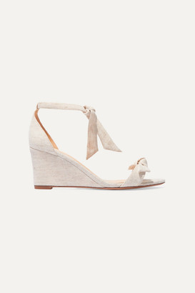 Alexandre Birman Clarita Bow-embellished Canvas Espadrille Wedge Sandals - Beige