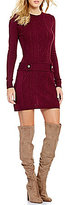 I.N. San Francisco Drop Waist Cable-Knit Sweater Dress