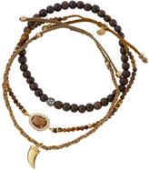 Tai Mixed Tiger's Eye Beaded Bracelets, Set of Three, Brown