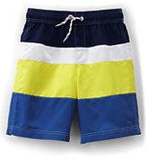 Classic Boys Husky Colorblock Swim Trunks-Brilliant Turquoise