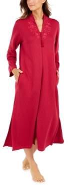 Miss Elaine Quilt-In Knit Long Zipper Robe