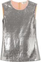 Diane von Furstenberg Sequined Crepe De Chine Top - Silver