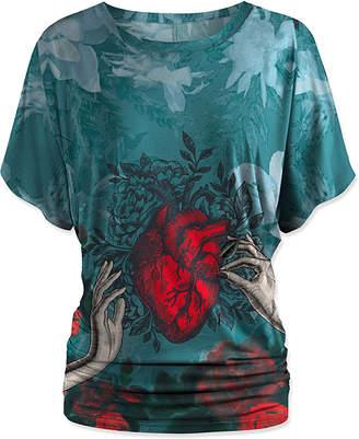 Udear UDEAR Women's Blouses Print - Blue Hands & Heart Dolman Top - Women & Plus