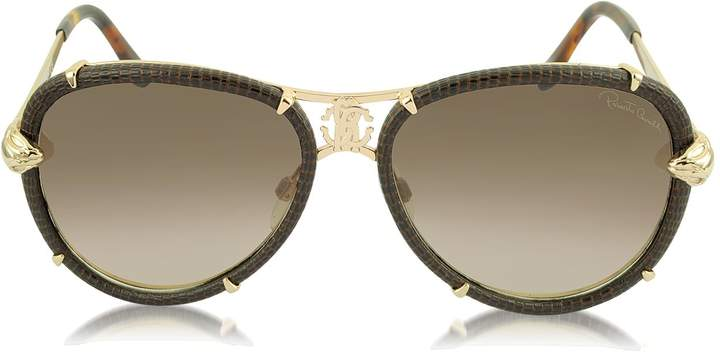 Roberto Cavalli Mebsuta 885S Leather & Gold Metal Aviator Sunglasses