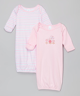 SpaSilk Pink Butterfly Gown Set - Infant