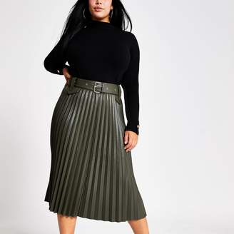 River Island Womens Plus Khaki pleated faux leather midi skirt