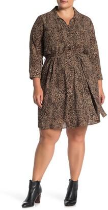 1 STATE Long Sleeve Leopard Shirt Dress (Plus Size)