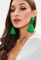 Missguided Green Art Deco Tassel Earrings
