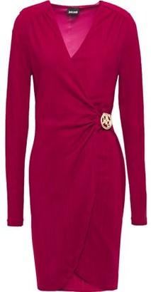 Just Cavalli Wrap-effect Embellished Stretch-jacquard Mini Dress