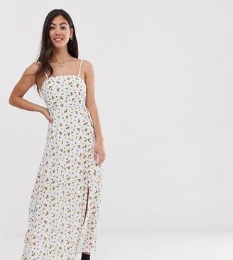Vero Moda Petite floral square neck maxi dress-Cream