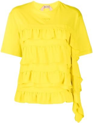 No.21 ruffled round neck T-shirt