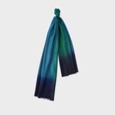 Paul Smith Men's Navy Dip-Dye Herringbone Cashmere Scarf