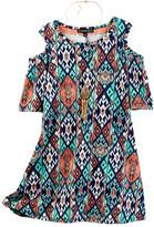 My Michelle mymichelle Cold Shoulder Dress with Necklace 2-Piece Set (Big Girls)