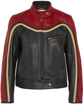 Chloé Paneled Leather Biker Jacket - Red