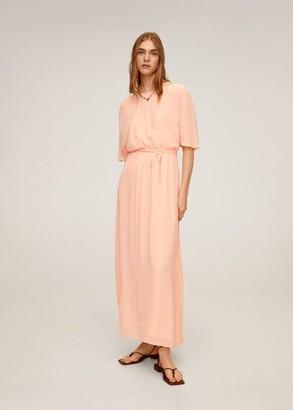 MANGO Flowy long dress pink - 2 - Women