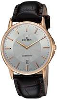 Edox 56001 37R-AIR Unisex Watch Analogue Quartz Brown Leather Strap