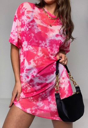 Missguided Pink Tie Dye Mesh Oversized T Shirt Dress