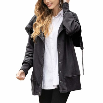 Yijinstyle Solid Color Womens Button Down Long Sleeve Cardigan Coat Casual Jackets (Dark Grey XL)