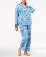 Miss Elaine Plus Size Contrast-Cuff Pajama Set
