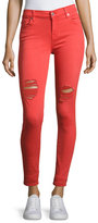 7 For All Mankind The Ankle Distressed Skinny Jeans, Red