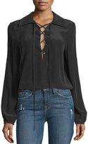 Frame Lace-Up Silk Blouse, Noir